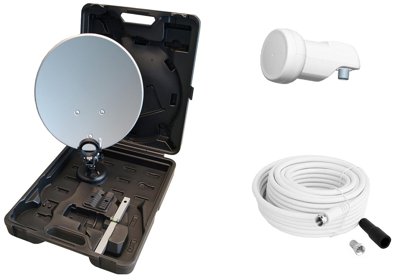 Opticum - Maletín con sistema satélite para camping (antena de 35 cm, LNB simple, soporte, ventosa, 10m cable con conectores F y carcasa impermeable) (importado) 9046