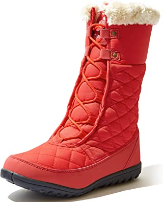 DailyShoes Womens Comfort Round Toe Mid Calf Hiking Outdoor Ankle High Eskimo Winter Fur Snow Boots Orange