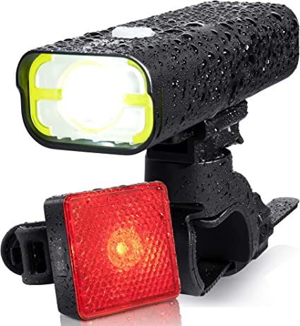 USB Rechargeable LED Bike Bicycle Light Set Waterproof Front Rear Back Headlight