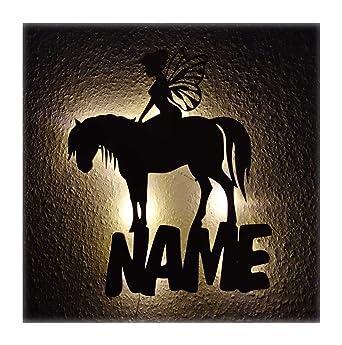Pferde Led Holz Deko Geschenk Mit Name Fur Pferd Fee Pferdeliebhaber