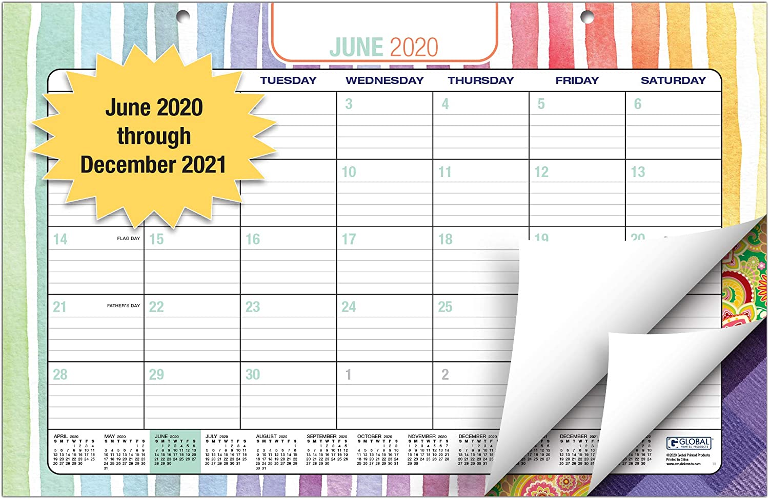 "Desk Calendar 2020-2021: 11""x17"" - (Runs from June 2020 Through December 2021) (1 Pack) (June 2020 - December 2021)"