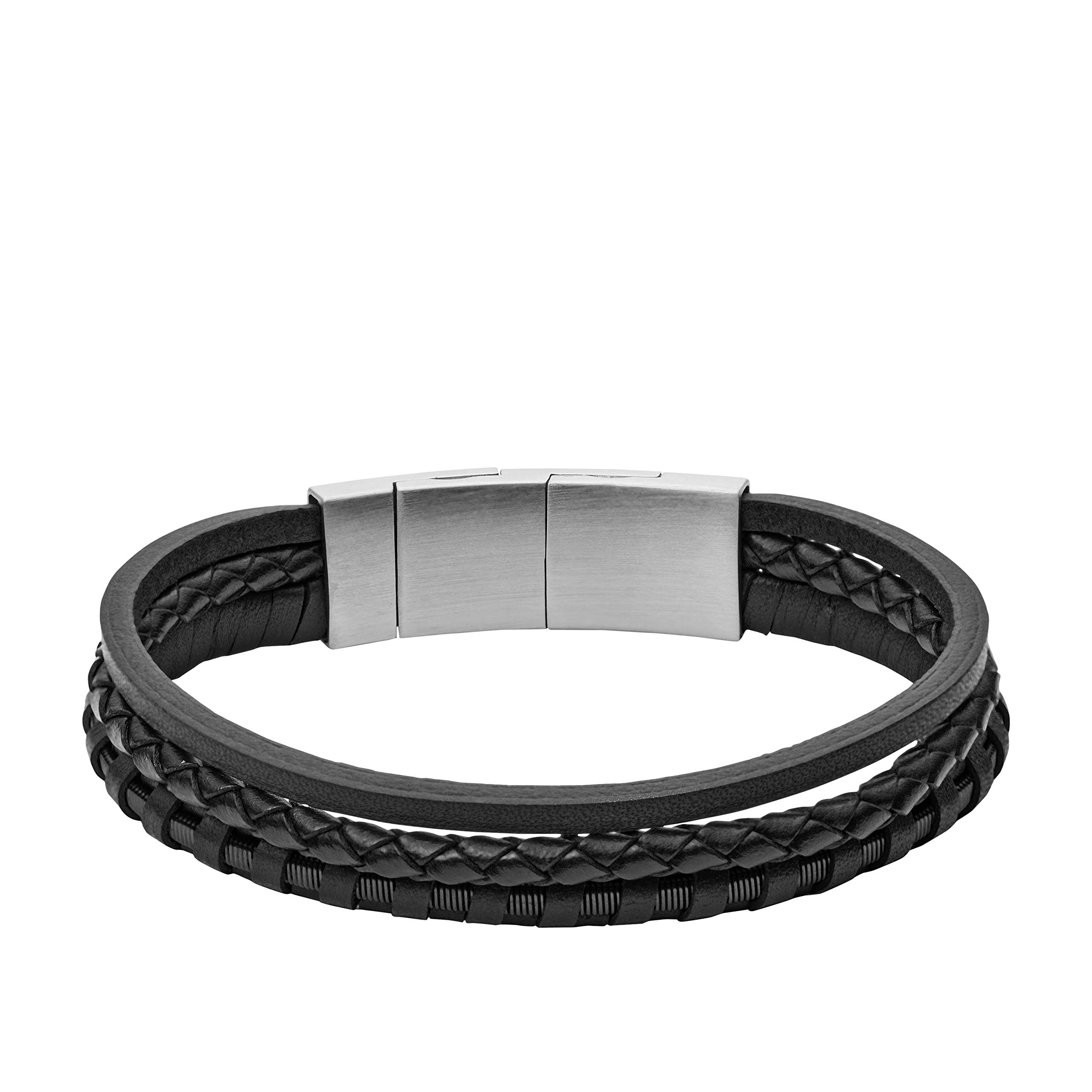 ویکالا · خرید  اصل اورجینال · خرید از آمازون · Fossil Men's Black Multi-Strand Braided Leather Bracelet, One Size wekala · ویکالا