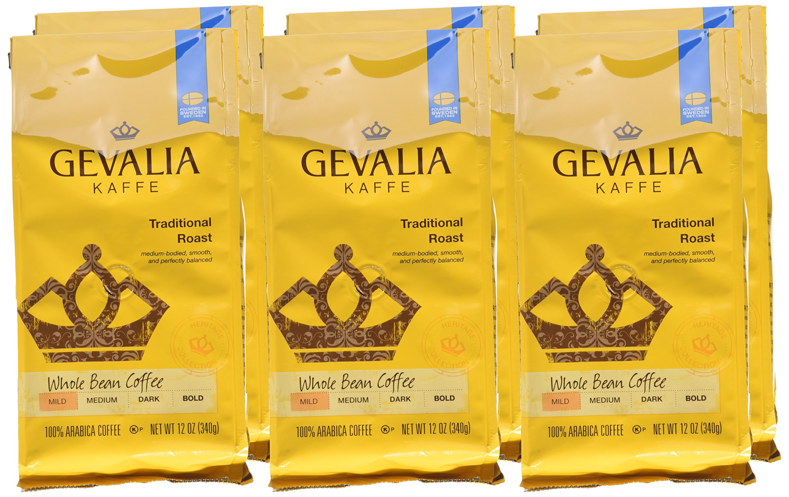 GEVALIA Traditional Roast Coffee, Mild, Whole Bean, 12 Ounce, 6 Pack by Gevalia (Image #2)