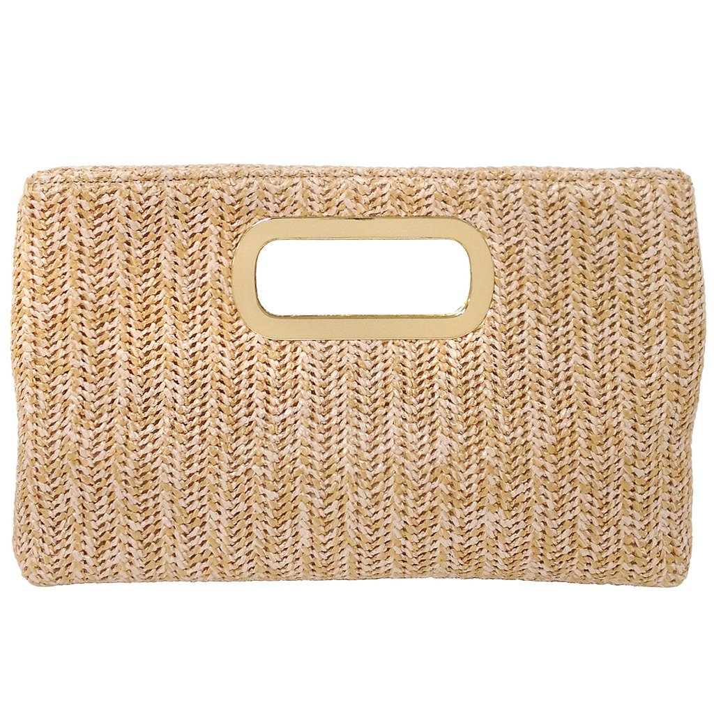 Top Handle Straw Clutch, Natural