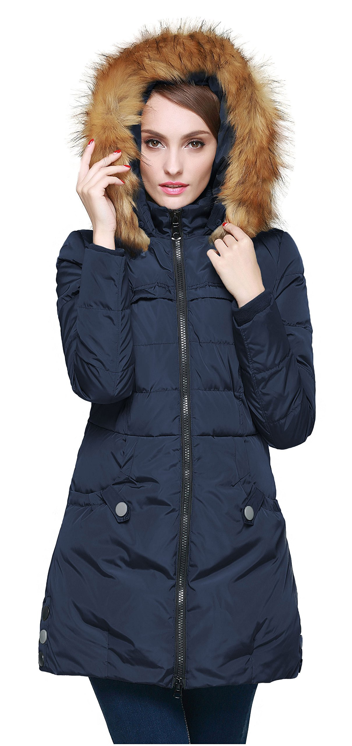 Orolay Women's Down Jacket with Faux Fur Trim Hood (S, Navy)