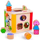 rolimate Wooden Activity Cube Best Gift for 1 2 3 Year Old and Up, Baby & Toddler Toy Preschool Early Development Wooden Educational Game Toy Gift Box - Activity Centers Prekindergarten Birthday