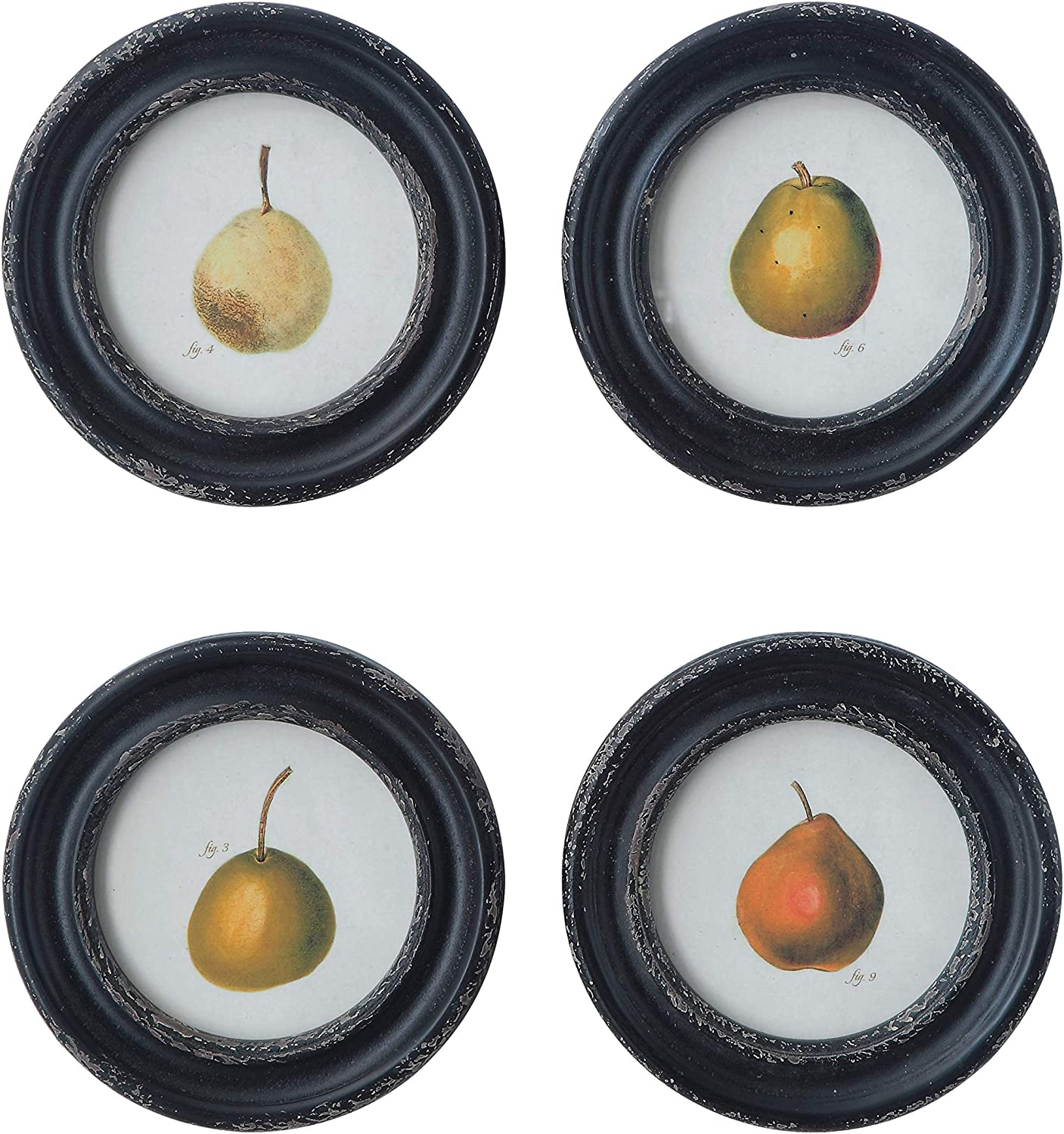 Creative Co-op Vintage Reproduction Pear Distressed Round Frame (Set of 4 Designs) Wall Décor, Black