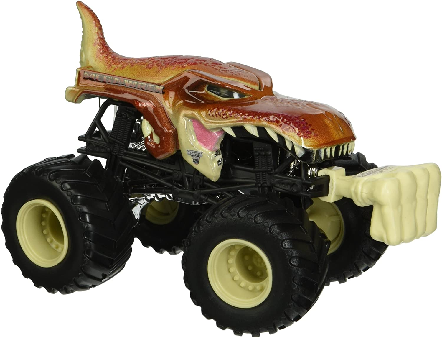 Amazon Com Hot Wheels New Rare Monster Jam Mega Wrex Brown Dinosaur Includes Snap On Battle Slammer Toys Games