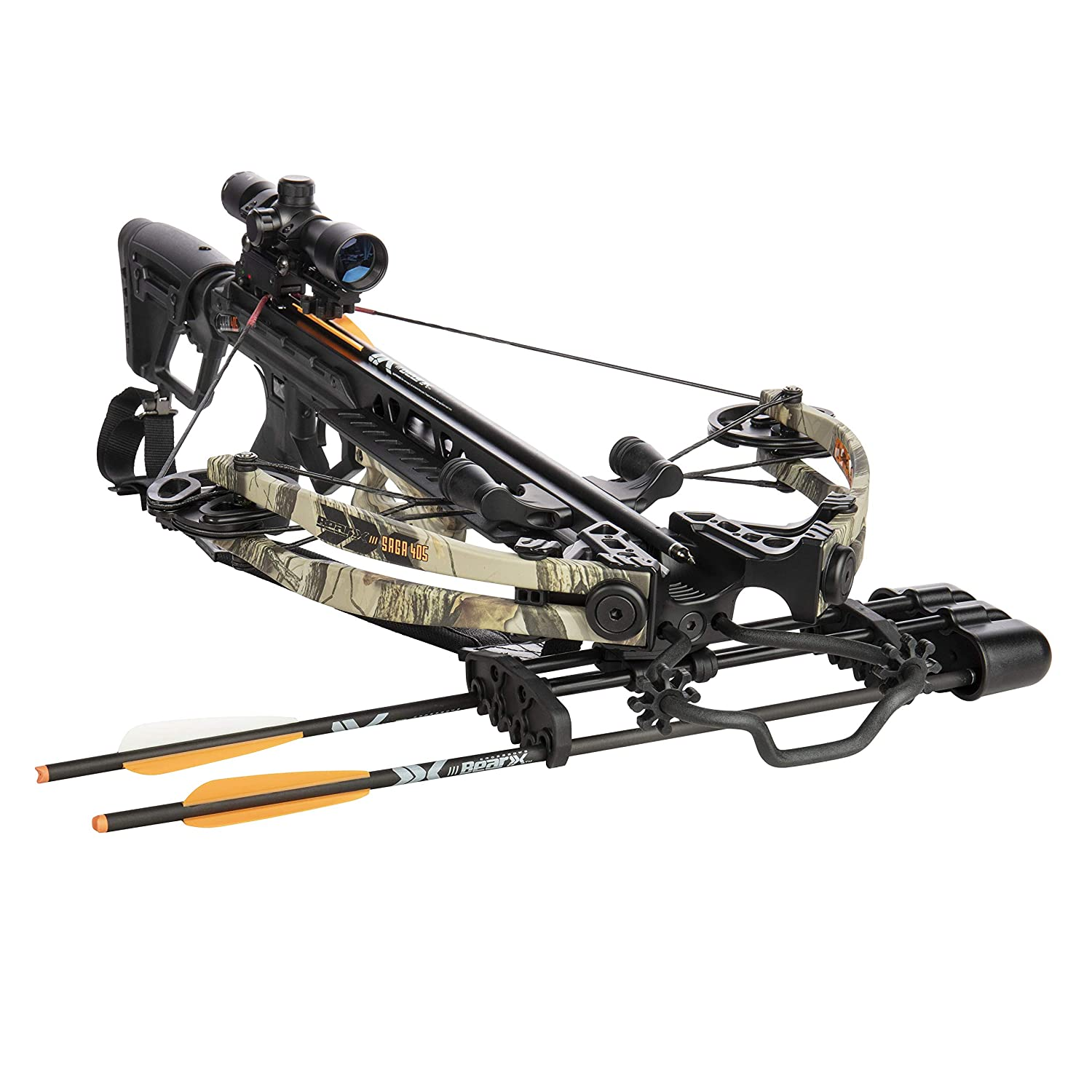 Bear Archery AC93A2A7200 Bear X Saga 405 Ready to Shoot Crossbow Package with 4×32 Scope, Quiver, Bolts, Cocking Rope, and Wax, Black Camo
