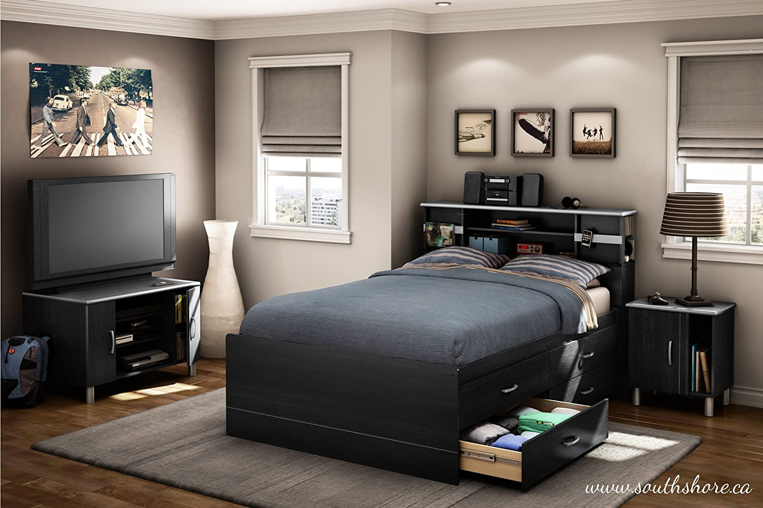 Amazon.com: South Shore Cosmos Collection Full Size Captainu0027s Bed, Black  Onyx And Charcoal: Kitchen U0026 Dining