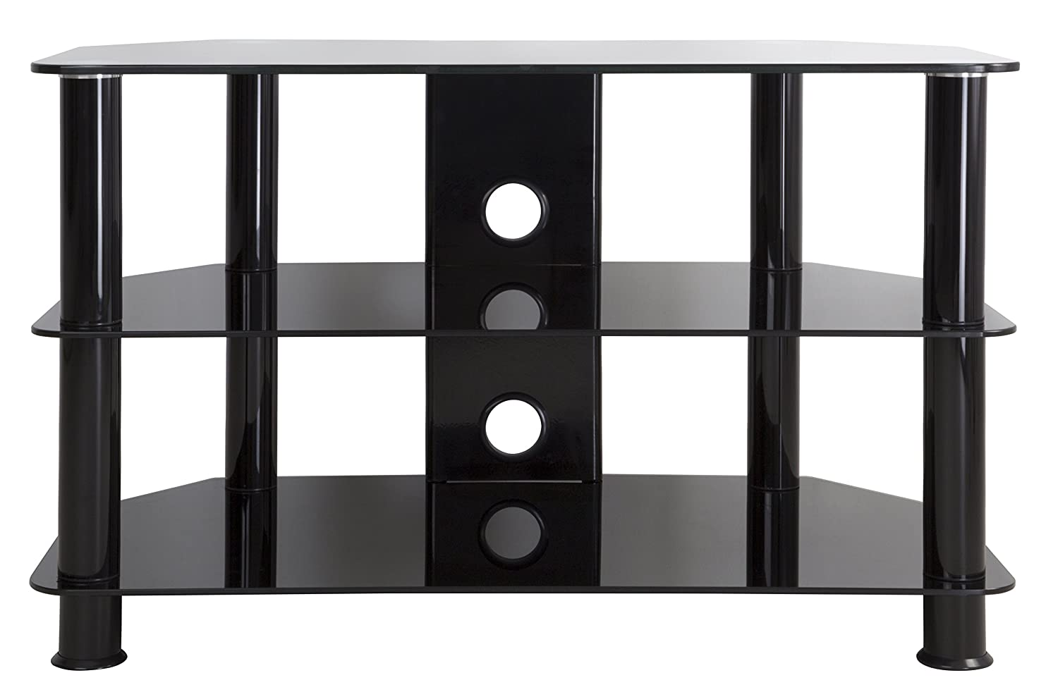 Amazon.com: AVF SDC800CMBB A TV Stand For 10 Inch To 42 Inch TVs, Black  Glass, Black Legs: Electronics