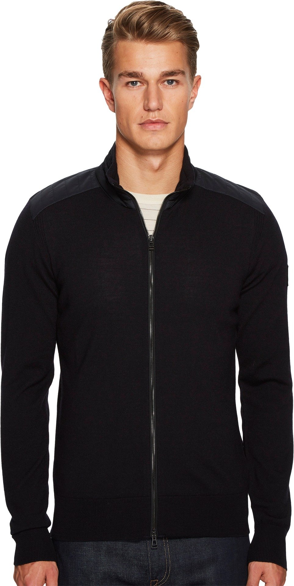BELSTAFF  Men's Kelby Fine Gauge Merino Full Zip Sweater Dark Navy Sweater
