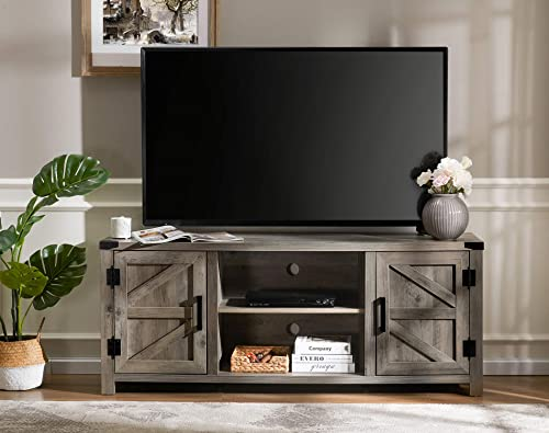 Farmhouse Barn Door TV Stand Wood Media Console Storage Cabinet