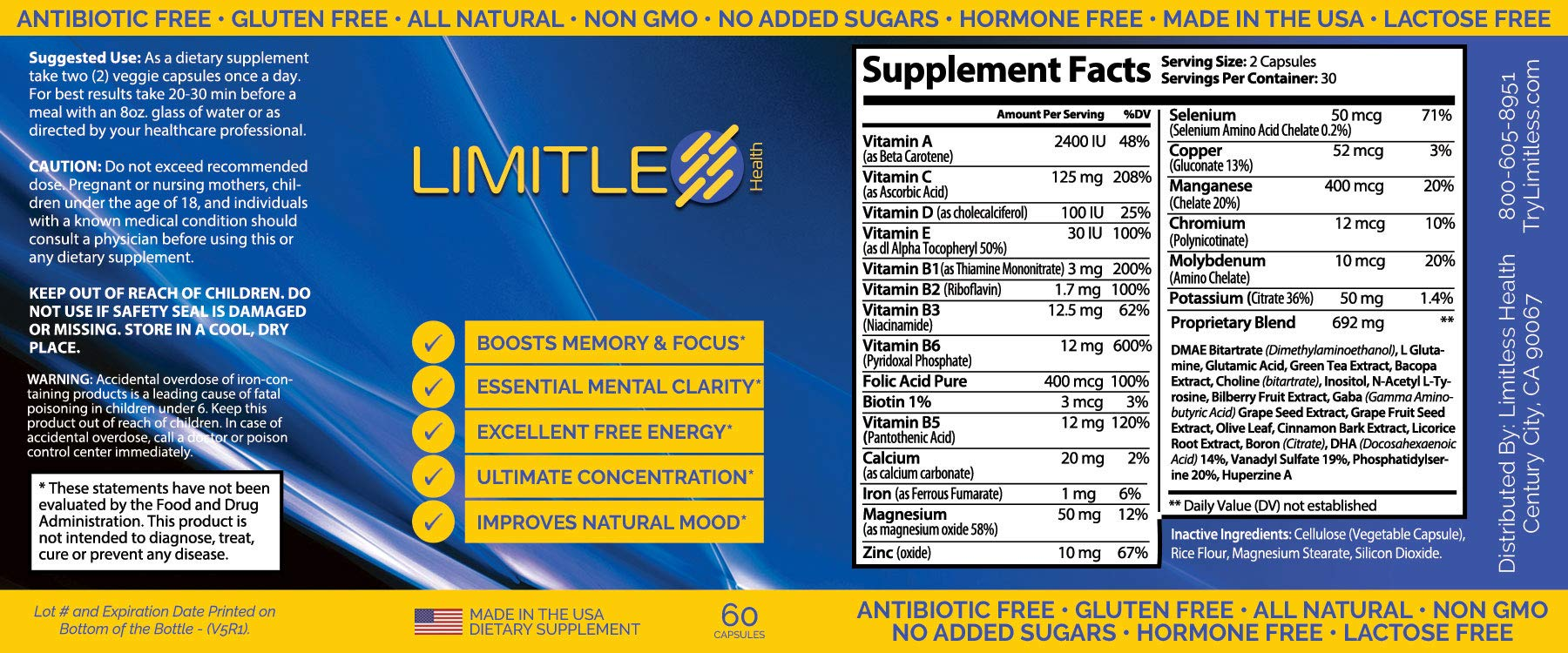 Limitless Health - Brain Function - 6 Bottles (Buy 3, Get 3 Free) Results in 27 Minutes | 8 Ingredients | Improve Reaction Speed | AS Heard ON The Radio