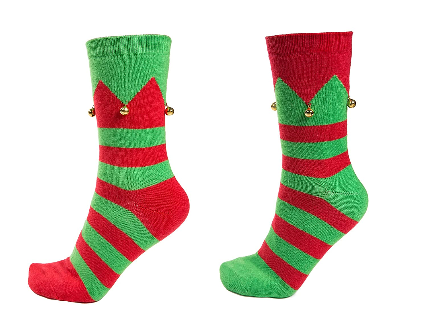 Amazon.com: Christmas Elf Socks with Jingle Bells, 2 Pair, Stretch ...