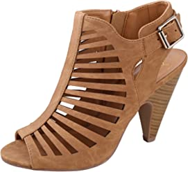 dff175092ca My Delicious Shoes Women s Shaky Synthetic Dress Tan 7.5