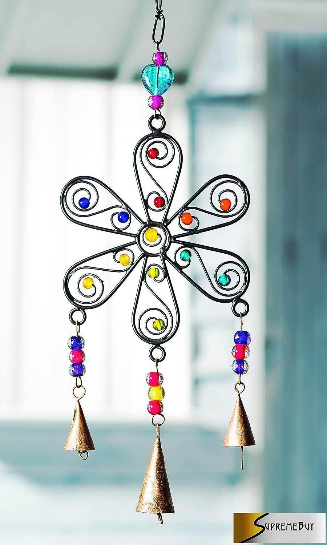 Wunderschöne Blume Windspiel, handgefertigt, Eisen, gemischt, 'N'Glocken, ideal für Haus und Garten ' N' Glocken SupremeBuy