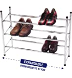3 Tier Extendable Stackable Shoe Rack Organiser Storage Metal Chrome Plated