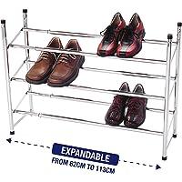 Étagère à chaussures superposable et extensible avec 3niveaux de rangement en métal plaqué chrome