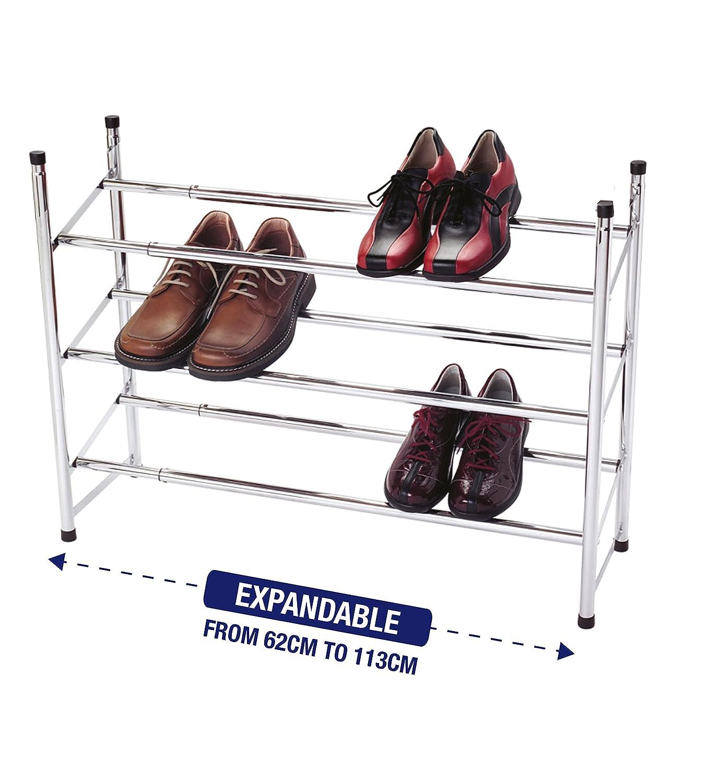 allungabile Organiser a 3/livelli impilabile scarpiera in metallo cromato