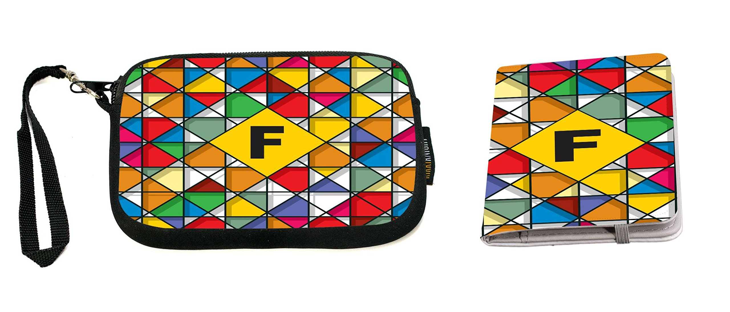 Letter F Monogram Vibrant Colors Stained Glass Clutch Wristlet & Passport Cover by Rikki Knight