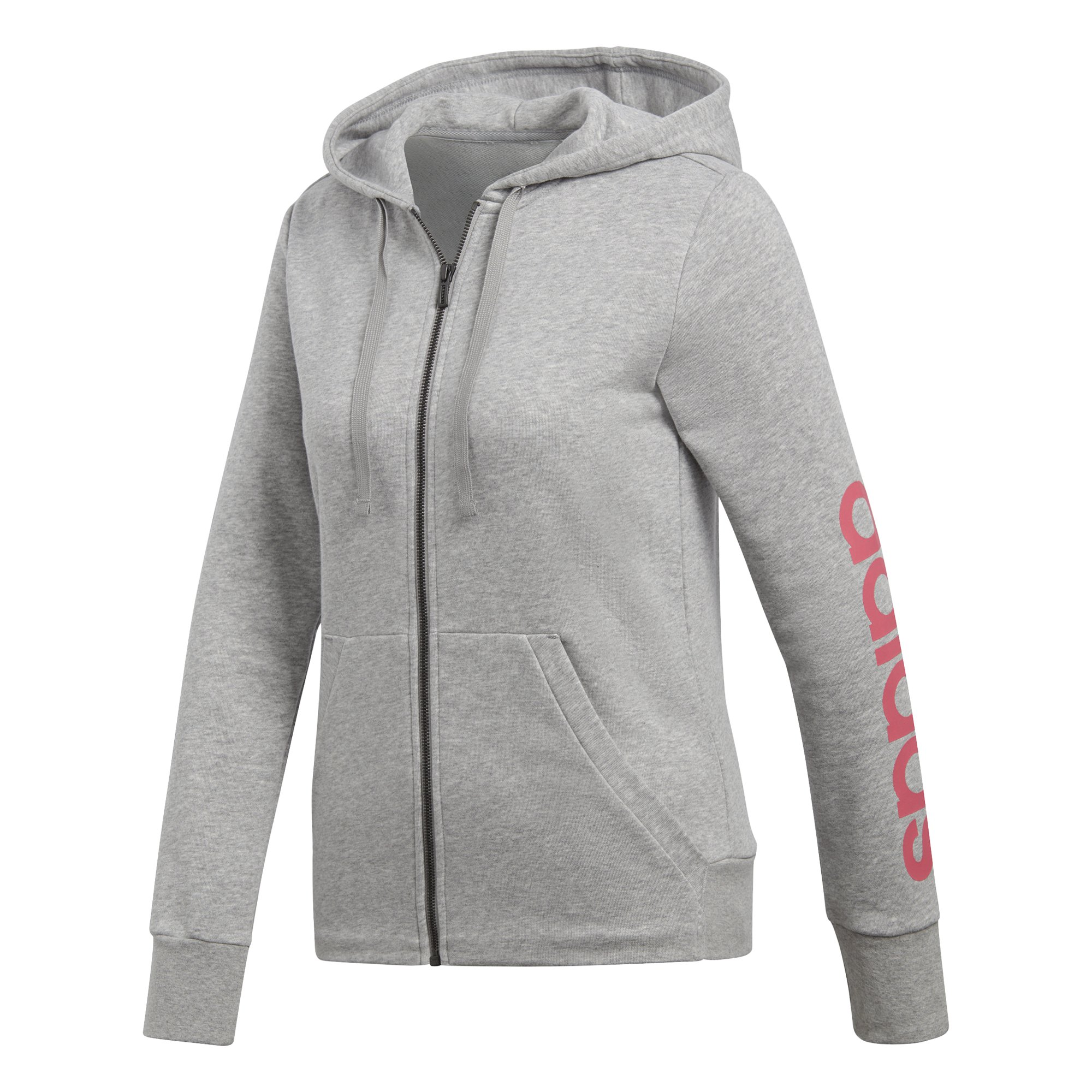 adidas Women's Essentials Linear Full Zip Fleece Hoodie, Medium Grey Heather/Real Pink, X-Small