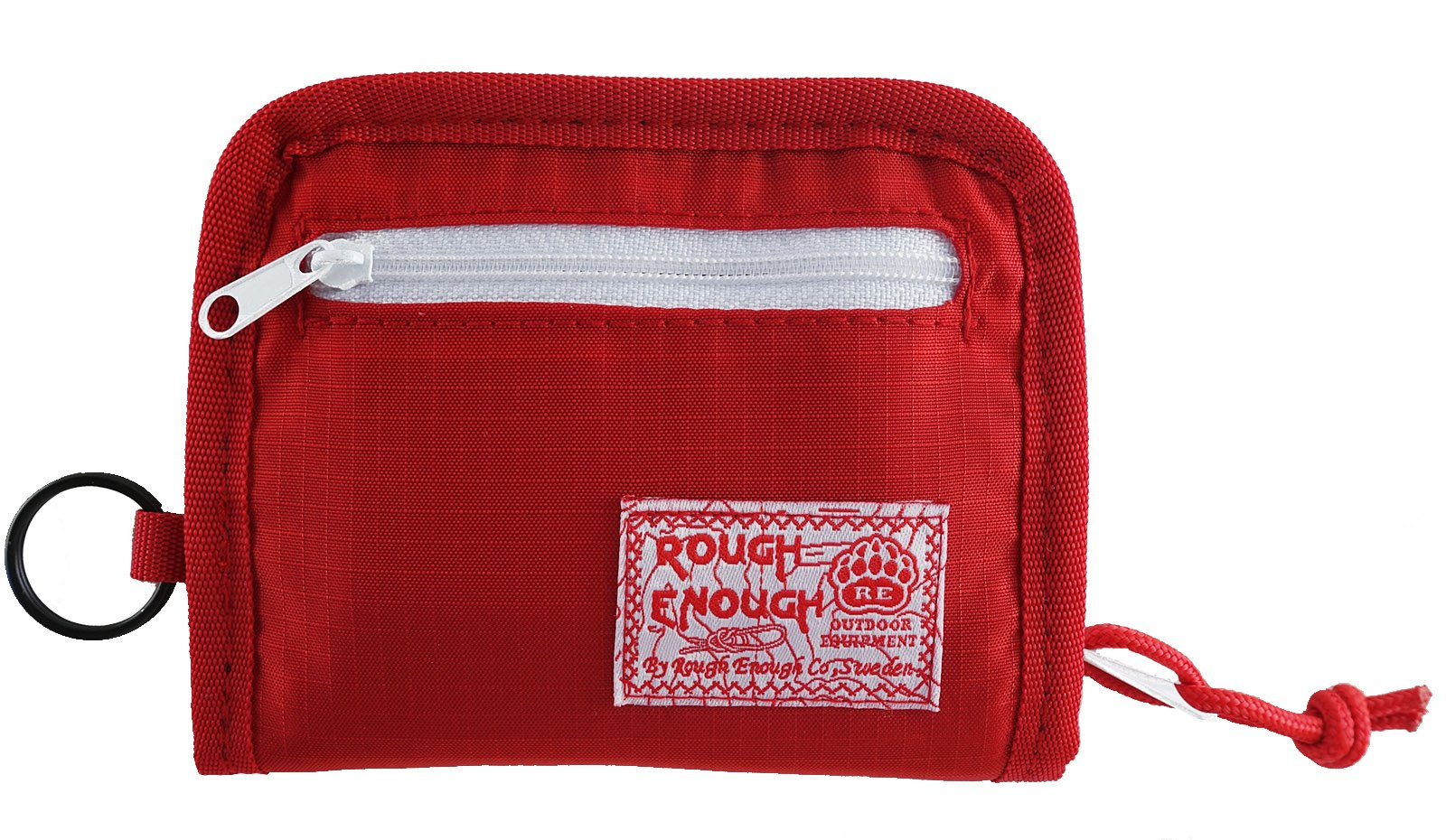 Rough Enough Prime Cordura Soft Nylon Full Zippered Sports Outdoors Short Basics Fashion Fancy Small Portable Bi-fold Coin Wallet Purse Holder Organizer Case with Key Ring for Kids Boy Men Women,Red