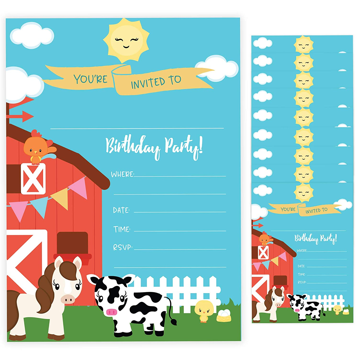 With Envelopes Boys Girls Kids Party 10ct Barnyard Happy Birthday Invitations Invite Cards 10 Count