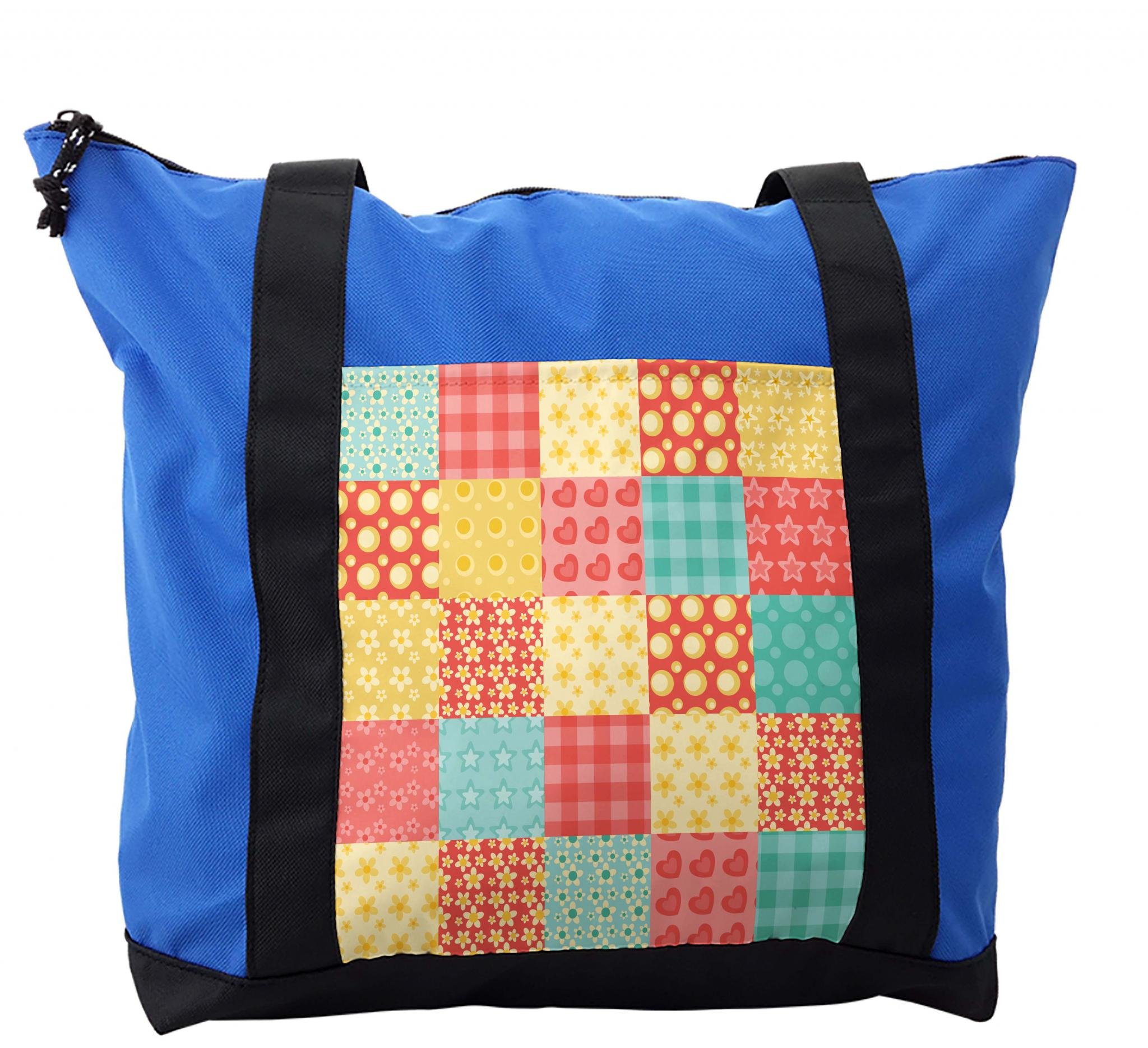 Lunarable Patchwork Shoulder Bag, Gingham Style Tile Design, Durable with Zipper