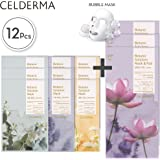 CELDERMA Korean Mask Sheet Pack - 12 Premium Face Masks For Cleansing, Exfoliating, Moisturizing with Lotus Extract and Jojoba Seed Oil