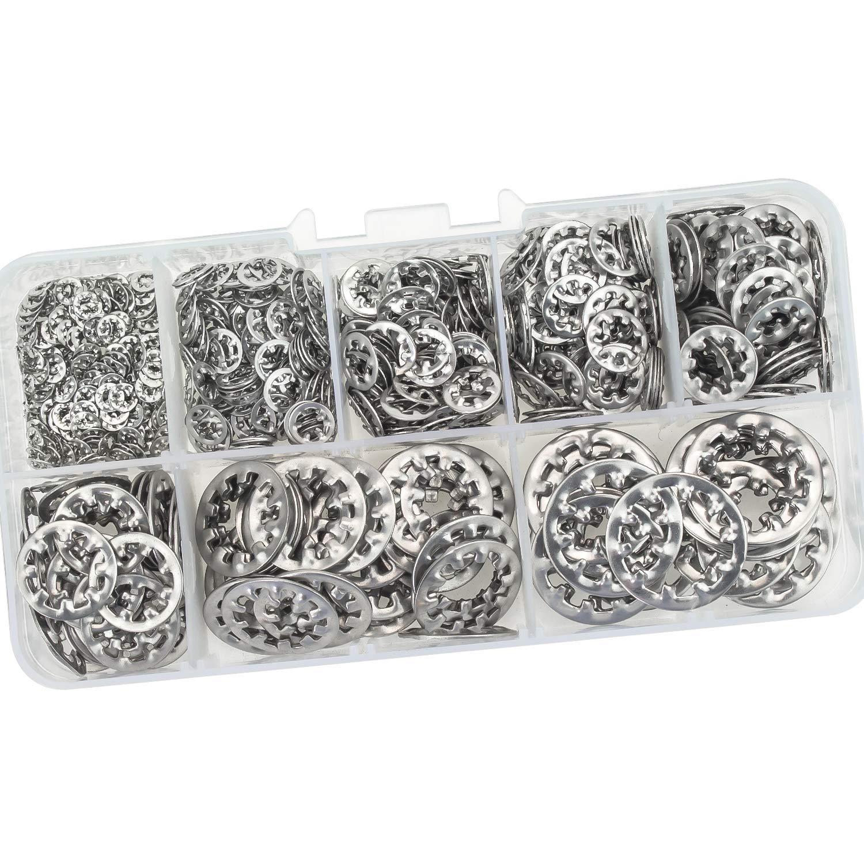 180 PCS Internal Tooth Star Lock Washers, 304 Stainless Steel M3 M4 M5 M6 M8 M10 Locking Washers Assortment Kit