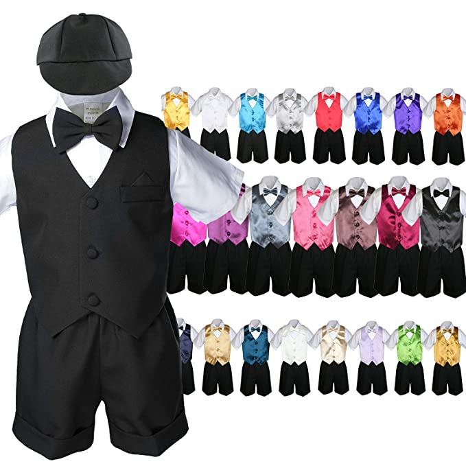 Boys' Clothing (Newborn-5T) 7pc Baby Boy & Toddler Formal Vest Shorts Gray Suit Extra Vest Bow Tie Set S-4T
