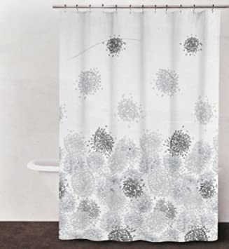 DKNY Brushstroke Floral Periwinkle Gray Brown Fabric Shower Curtain