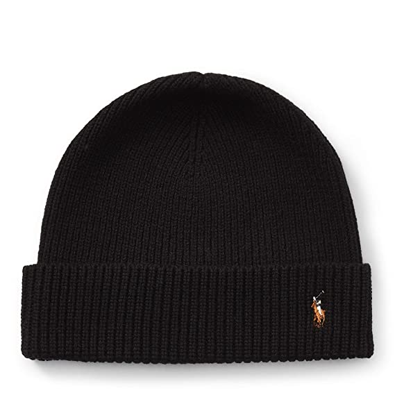b55948dd1 Ralph Lauren Men s Beanie Signature Merino Cuff Hat (Black)  Amazon ...