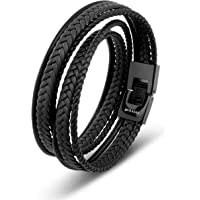 SERASAR | Premium Leather Wrap Bracelet [Wrap] for Men in Black & Brown | Different Lengths | Stainless Steel Clasp…