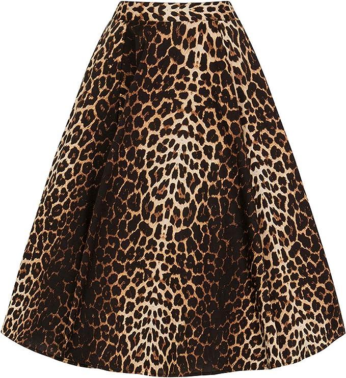 Hell Bunny Panthera Estampado Leopardo Circular Años 50 Falda ...