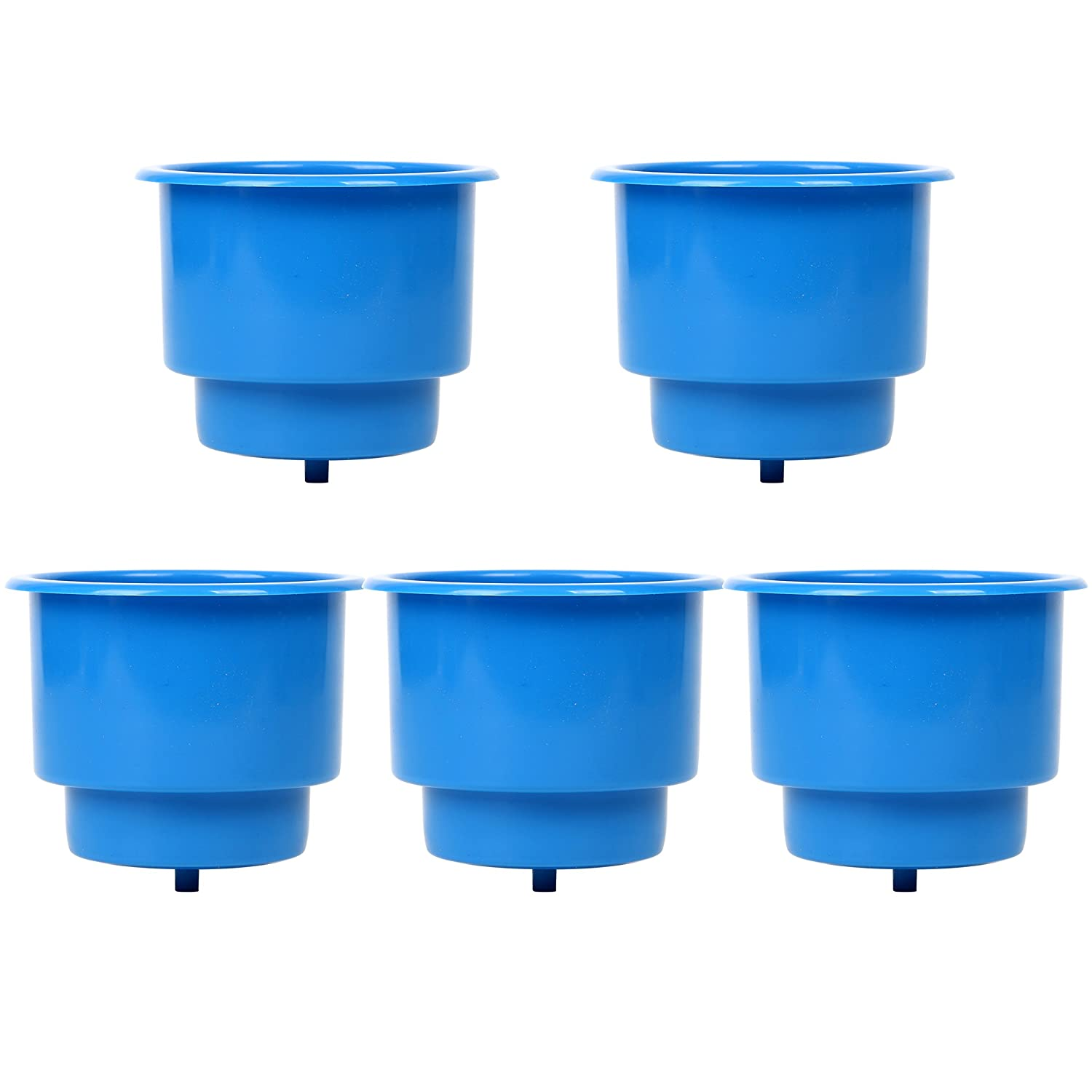 Set of 5 Recessed Drop in Plastic Cup Drink Can Holder with Drain for Boat Car Marine Rv Amarine Made Blue