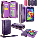 Galaxy S5 Case - Cellularvilla PU Leather flip Wallet Bag Pouch Case with Credit Card Slots Pockets & Detachable Hard Soft Back Cover For Samsung Galaxy S5 S 5 I9600 SM-G900 AT&T / T-Mobile (Purple)