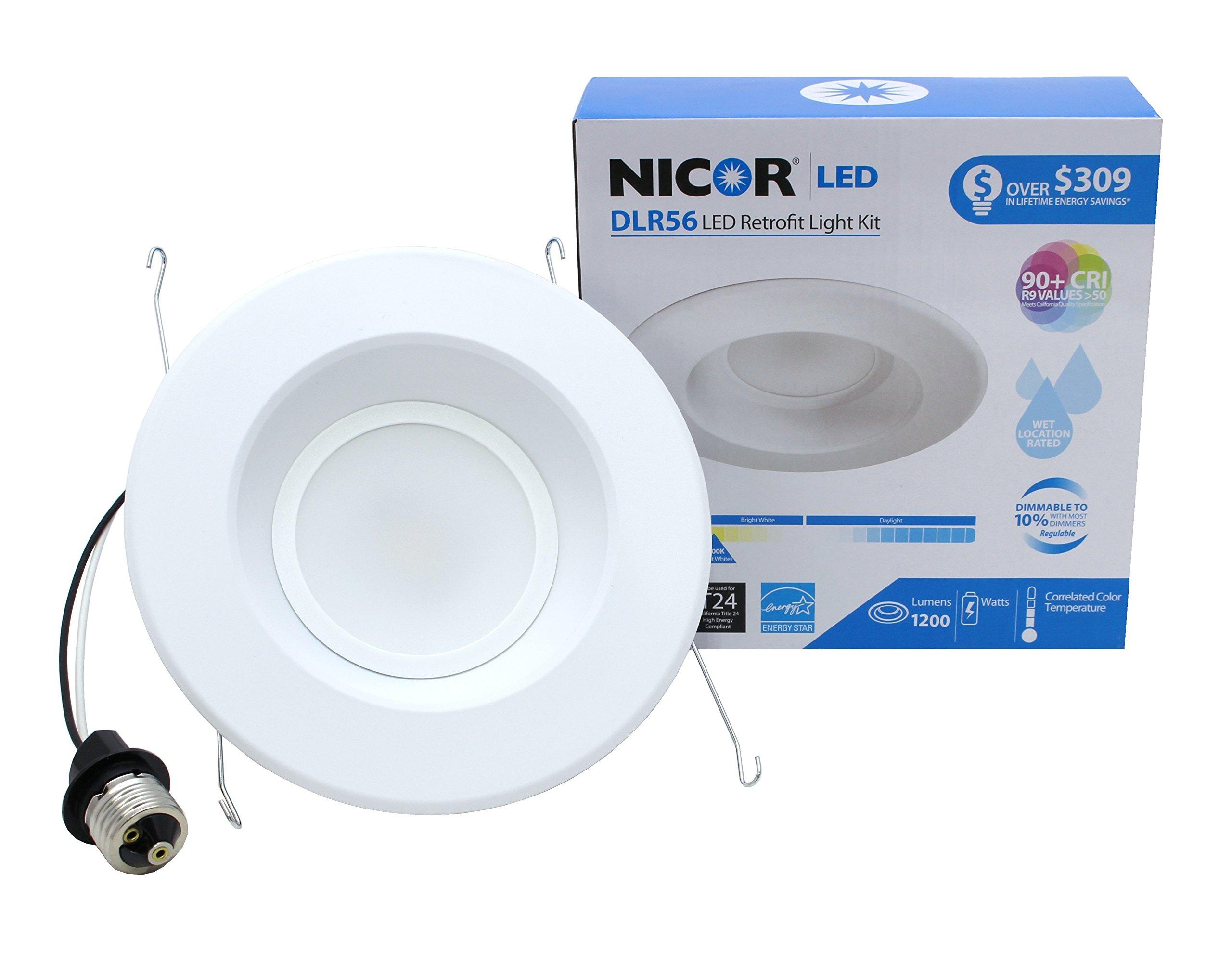 NICOR Lighting 5/6-Inch Dimmable 1200-Lumen 2700K LED Downlight Retrofit Kit for Recessed Housings, White Trim (DLR56-3012-120-2K-WH)