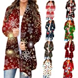 Women's Santa Claus Reindeer Plaid Cardigan Leopard Camo Christmas Tree Fly Animals Print Open Front Tunic Sweatshirt