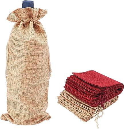 2 Festive Zig Zag Burlap Wine Bottle Bags Set