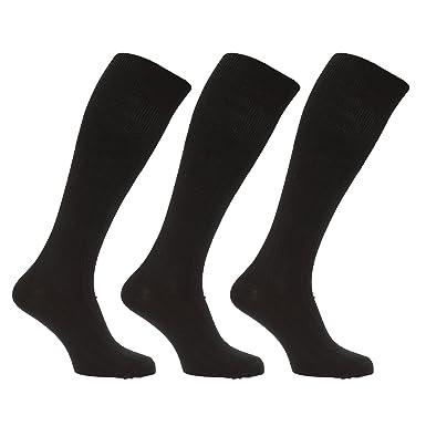 Calcetines largos hasta la rodilla acanalados con lana de oveja para hombres/chicos - Pack de 3 pares de calcetines (39-45 EUR/Negro): Amazon.es: Ropa y ...