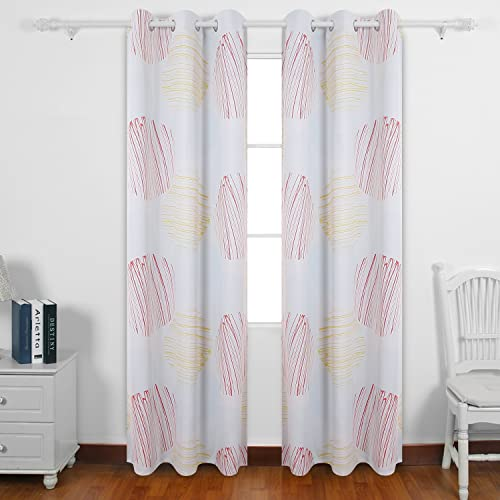 Deconovo Decorative Blackout Thermal Insulated Grommet Circular Printed Darkening Curtain Panels for Kids Room, 42×95 Inch, Orange and Yellow