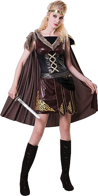 womens ladies fancy dress costume MEDIEVAL VIKING WARRIOR LADY Size 10-14