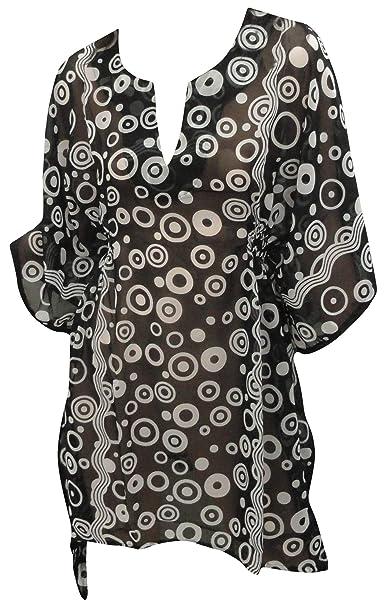 LA LEELA Womens Swim Beach Dress Kaftan Cover Ups for Swimwear Short Mini B