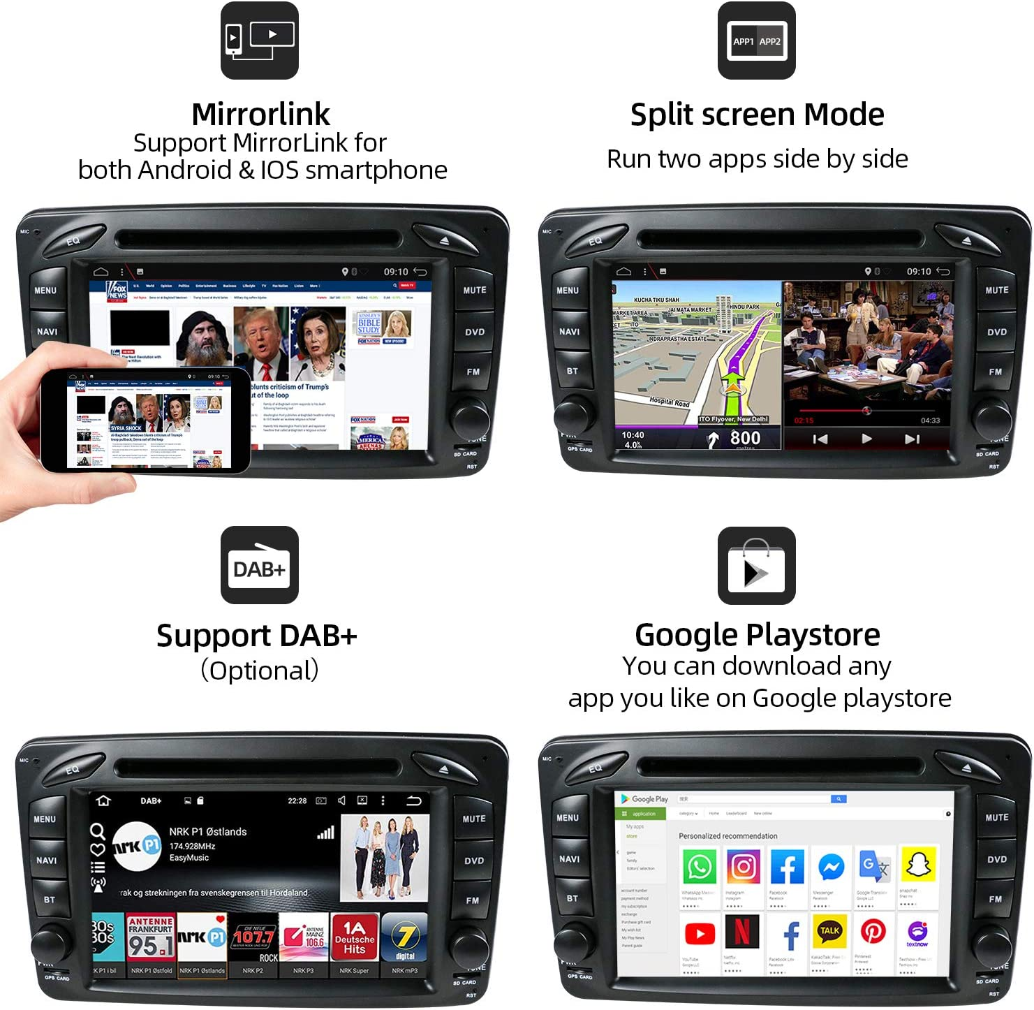 4GB+64GB - 9 inch Head Unit with FREE Rear Camera/&Canbus Support GPS  DAB+  Bluetooth Mirrorlink WiFi YUNTX PX6 Android 10 Double Din Car Stereo Fit for Mercedes Benz Viano//Sprinter//W906 A-Class -