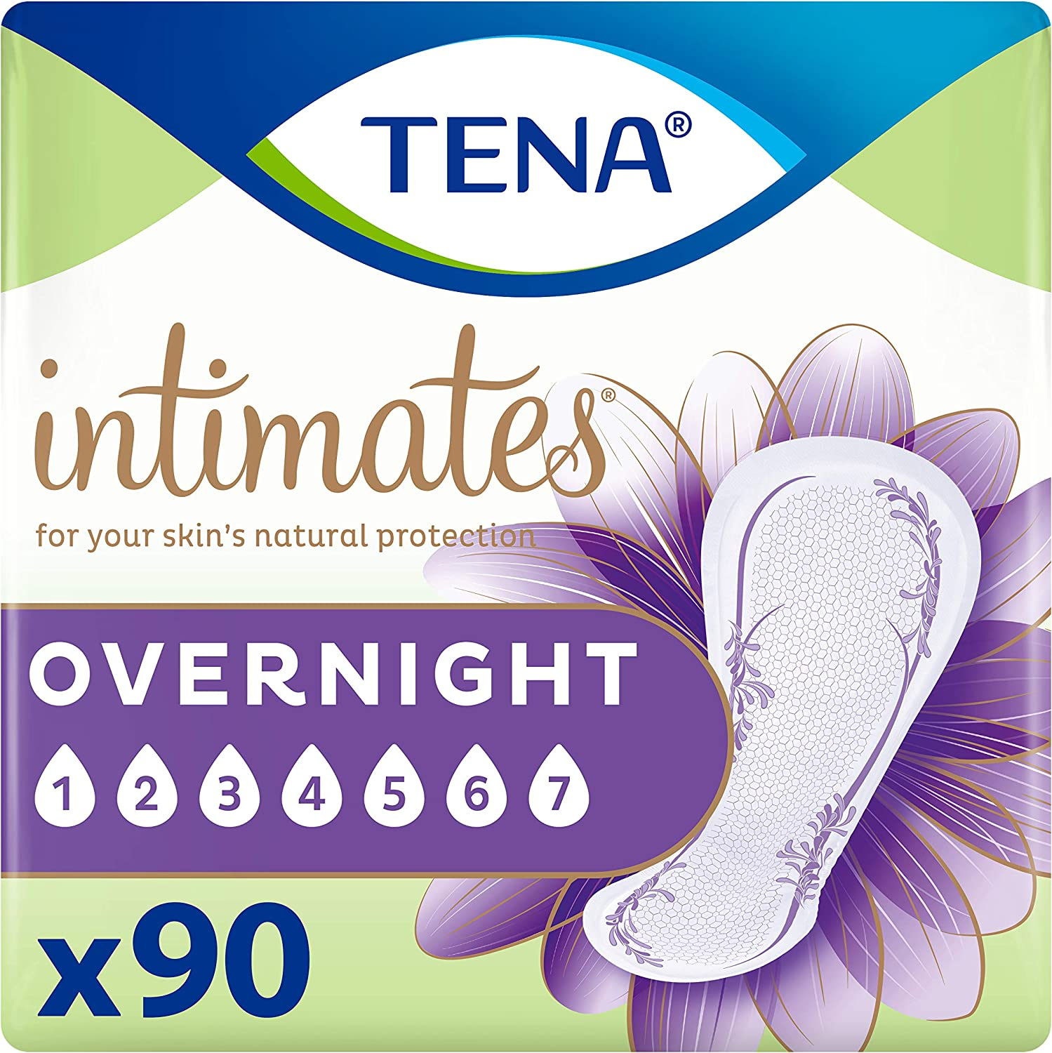 TENA Intimates Overnight Absorbency Incontinence/Bladder Control Pad with Lie Down Protection, 90 Count (Packaging May Vary): Health & Personal Care