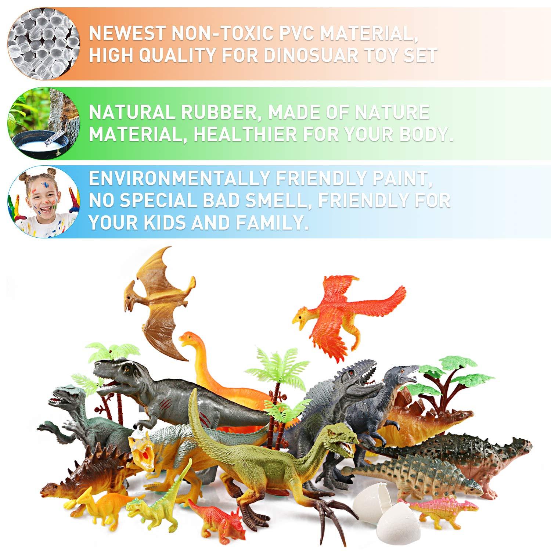 WOSTOO Dinosaurier Spielzeug Set, 23pcs Figur Dinosaurier mit 6pcs Simulierte Pflanze Dinosaurier Spielzeug Dinosaurier Blöcke Set Kunststoff Dinosaurier Figuren Party für Kinder 3 - 8 Jahre Alte