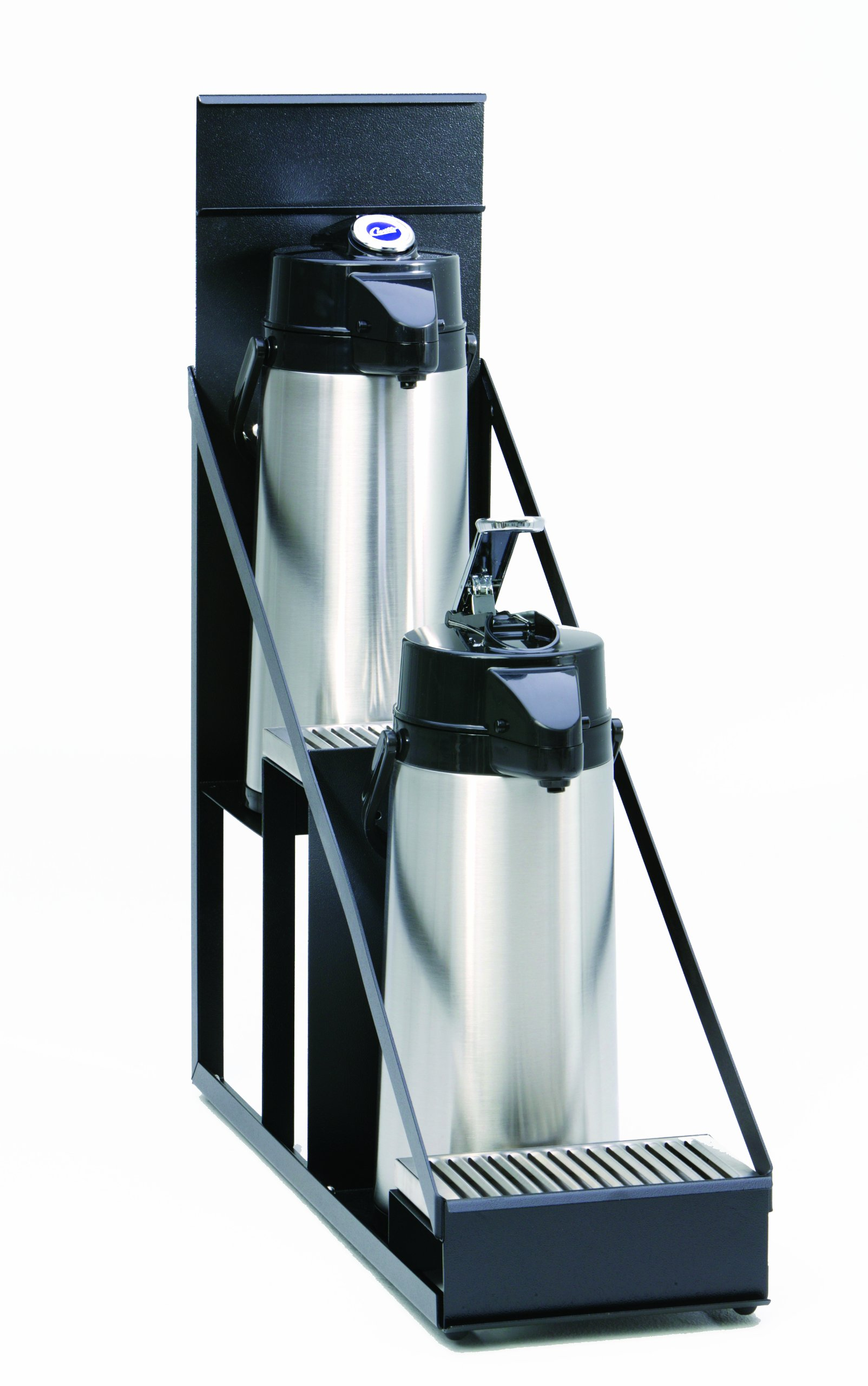 Wilbur Curtis  2 Position Step Up Airpot Rack - Compact Design with Integral Drip Tray - CAR-2T-BLK (Each)