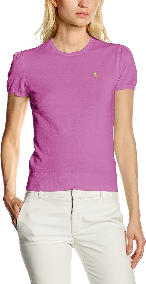 Polo Ralph Lauren SS Puff, Camiseta para Mujer, Morado (Vibrant ...